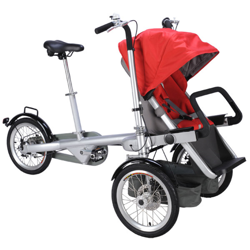Hot Mummy Bike Stroller Cute Baby Bicycle Prams Folding Umbrella Car Can Sit Can Lie Trolley Red Color DHL 3-5 Days Shipping poussette pliante portable umbrella stroller lightweight folding stroller can sit or lie folding baby stroller children prams