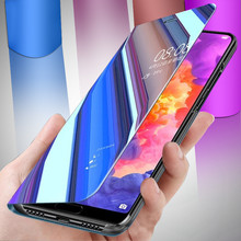 Wake UP mi rror Flip Fall für Xiaomi Redmi hinweis 7 Pro Rot mi 7 Harte Luxus Volle abdeckung für Xiao mi mi 8 lite mi 9t pro Stand Fall