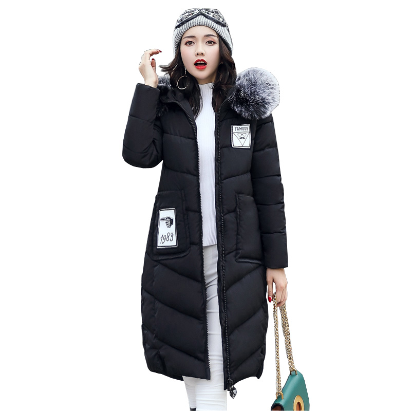 New 2017 Snow wear large fur collar coat women parka long winter ladies coats and jackets thick wadded jacket female 4L08 korean winter jacket women large size long coat female snow wear cotton parkas hooded thick warm coats and jackets 7 colors