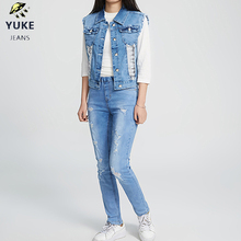 цена на YUKE  Girls Fashion Denim Vest Children's Denim Vest Ladies Denim Vest 8-15 Age I31150-8