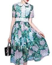 Roiii 2018 Весна Винтаж Для женщин элегантное платье Цветочный принт короткий рукав трапециевидной формы Платья для женщин Кружево летнее шифоновое пляжное платье vestidos