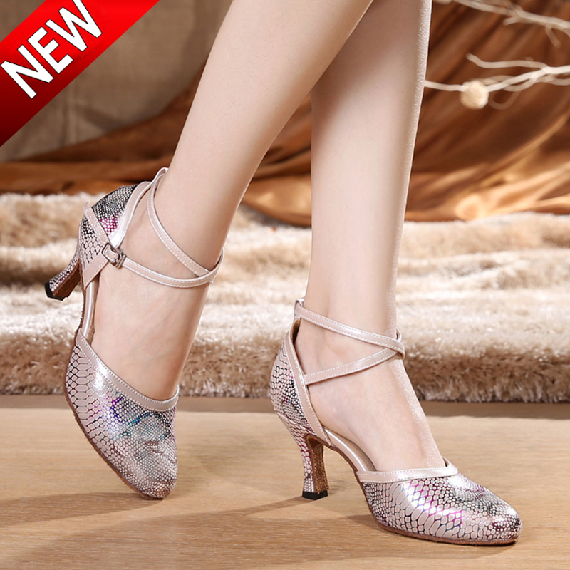 Adult Women Latin Dance Shoes Salsa Tango Dancing Shoes For Women 5.5 CM Heel Height Ballroom Shoes Dance 6417 latin canvas dance women shoes female adult social modern shoes with leather soft soled shoes women square dance shoes