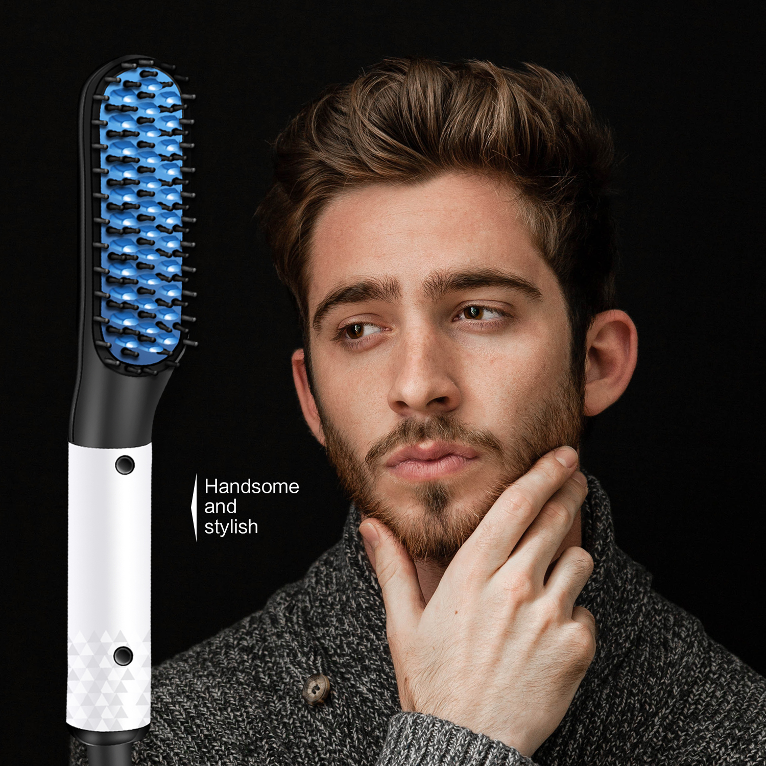 Professional Quick Hair Styler for Men Curling Iron Side Straighten Salon Hairdressing Quick Beard Straightener Styler CombProfessional Quick Hair Styler for Men Curling Iron Side Straighten Salon Hairdressing Quick Beard Straightener Styler Comb