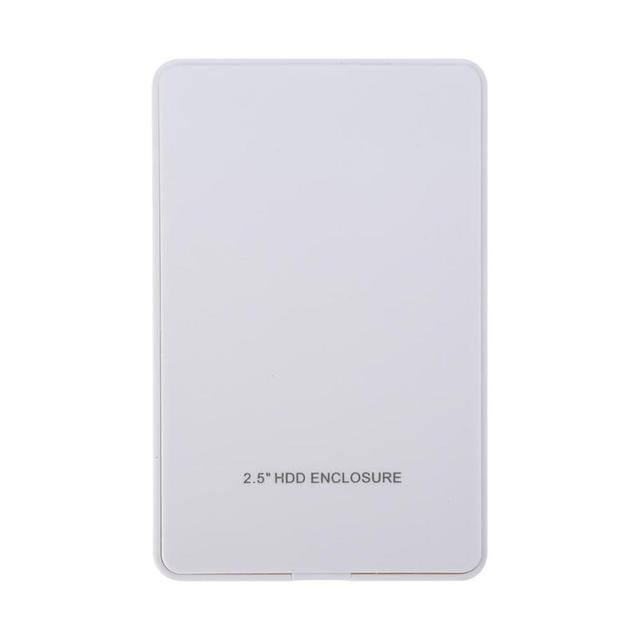 2.5in IDE Hard Disk Drive Enclosure USB 2.0 External HDD Case Box White for Win7/Win8/Win10 and for Mac OS 1