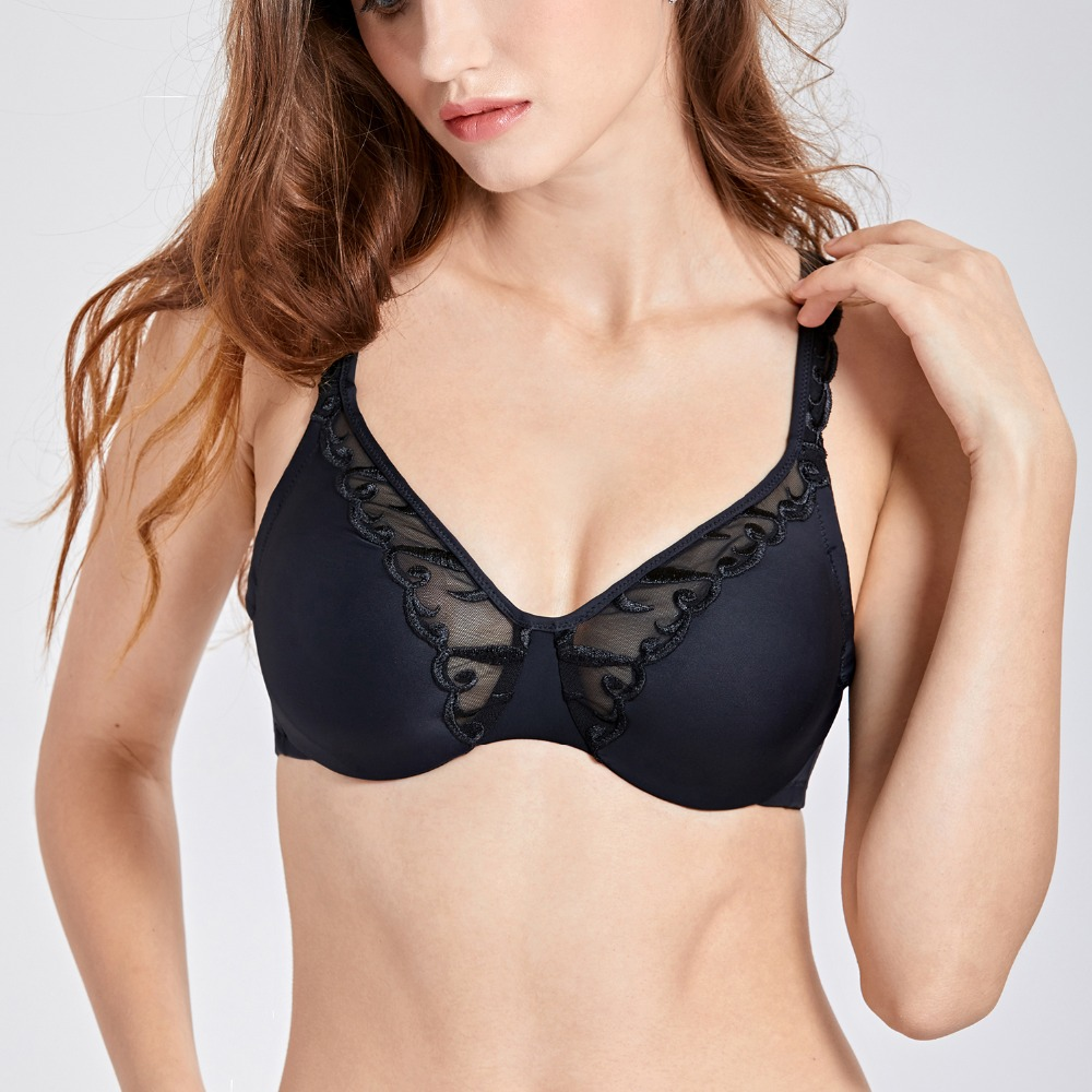 16fb4e3096f Women s Great Comfort Full Coverage No-padded Embroidered Minimizer Bra  image