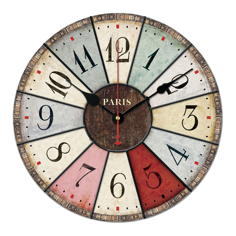 12 Inch Vintage Rustic Country Tuscan Style Silent Wooden Wall Clock Home Decor - Brief