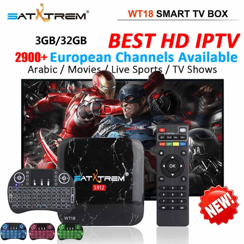 SATXTREM WT18 android tv box IPTV abonnement gratuit fort S912 Octa Core tv box IPTV lecteur multimédia meilleur box tv