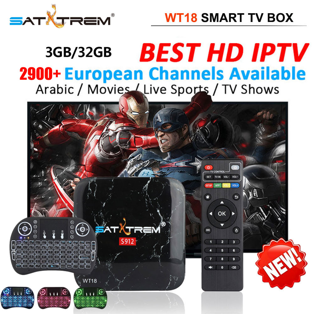 US $44 0 50% OFF|SATXTREM WT18 android tv box IPTV subscription free strong  S912 Octa Core tv box IPTV media player best box tv-in Set-top Boxes from