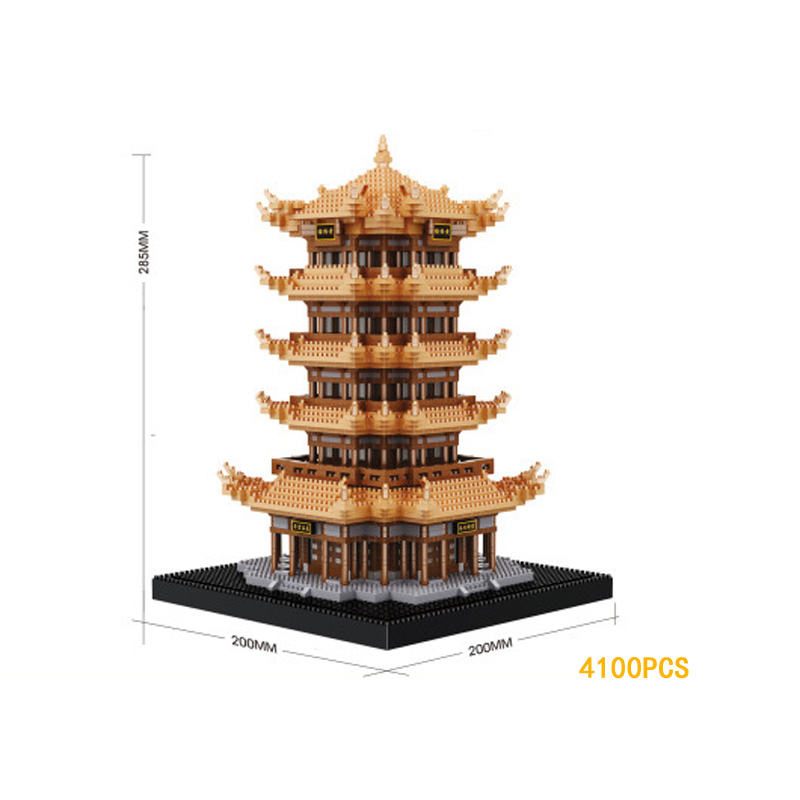Chinese famous Historical Cultural Architecture nanoblock Yellow Crane Tower micro diamond building block assemable toys model