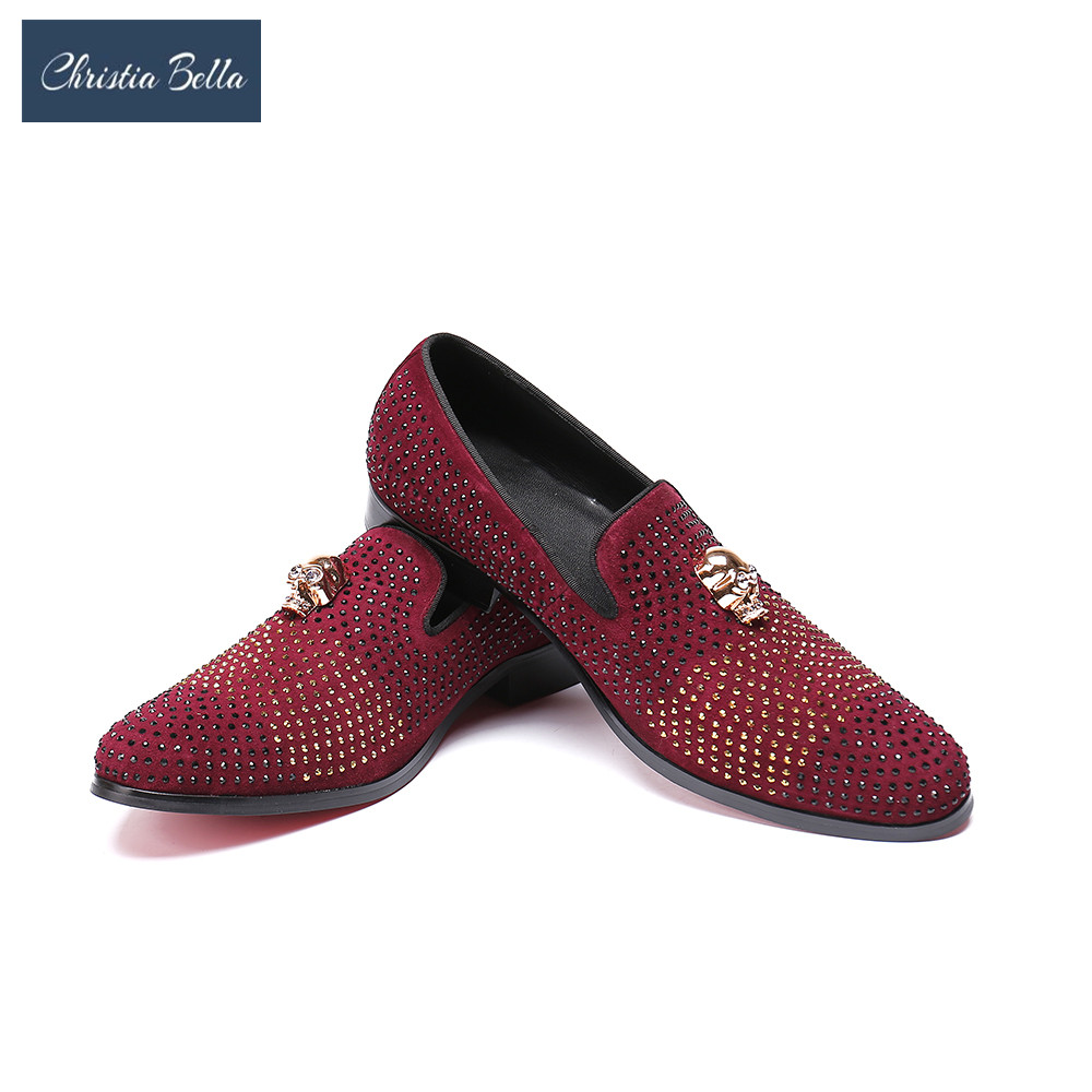 Christia Bella Men Leisure Shoes Fashion Slip on Pointed Toe Boat Shoes for Man Bling Glitter Red Casual Leather Slippers Shoes