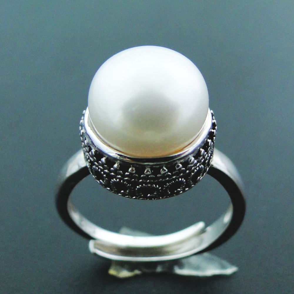 Natural Pearl Jewelry Women Ring Antique Designs Ring 10.5mm Natural Freshwater Pearl 925 Sterling Silver Ring Pearl Jewelry