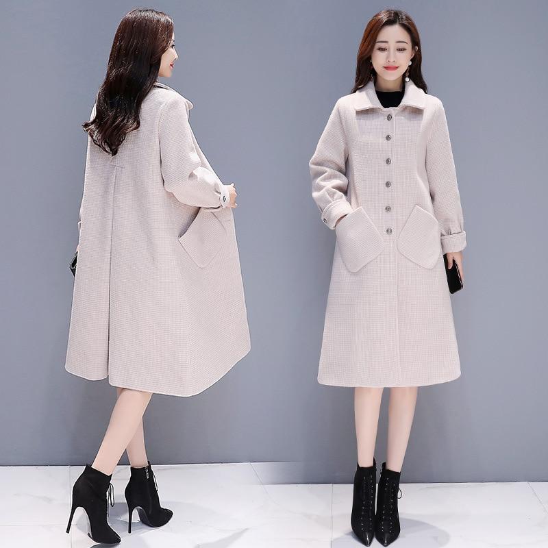 Manteau Coréenne 4 Laine Long Oiseaux 1 Et 2019 Élégant Mille 2 3 D'hiver Populaire Lâche Automne Mode Femmes Plaid Nouvelle dRSHqRx8