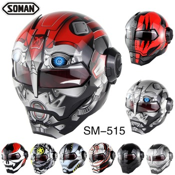 Soman Motorcycle Helmet Iron Man Style Motor Bike Safety Casco Motocross Capacete Monster Casque DOT Personality Headgear