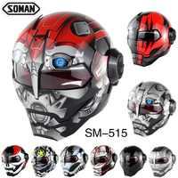 Soman Casque moto fer homme Style moto sécurité Casco Motocross Capacete Casque monstre DOT personnalité Casque