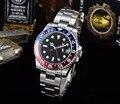 Мужские часы GMT  40 мм  черные стерильные часы с циферблатом  сапфировым стеклом  светящиеся красные/синие автоматические часы с безелем  L40-8