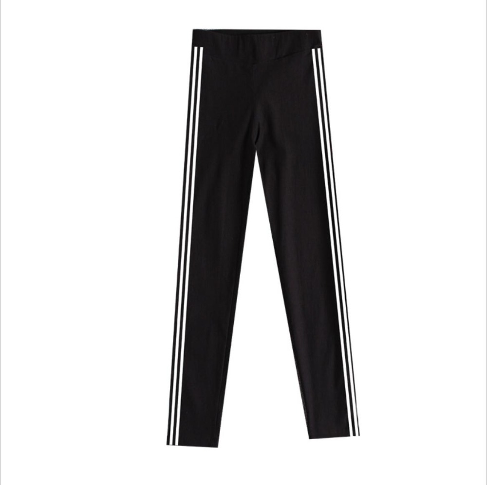 Women Bottoms Long Casual Pants Autumn Spring Female Clothes Double Striped pencil tight black feet Sportswear Trousers
