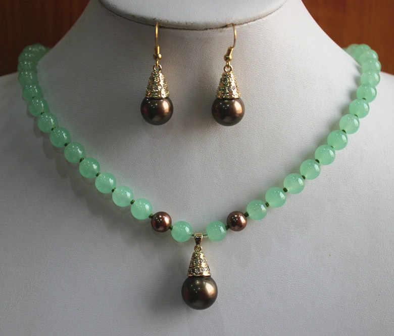 2 รูปแบบ lady 8 มม. สีเขียว jades nice สร้อยคอหินธรรมชาติ/hook ต่างหูและสร้อยคอจี้ชุดเครื่องประดับ