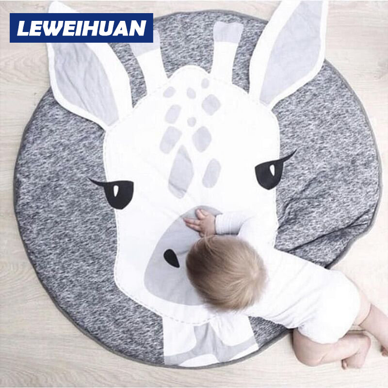 NEW Cute Cartoon Animals Giraffe Face Quilted Play Mats Baby Blanket Carpet Rug Nordic Style Kids Bed Room Decor Photo Props