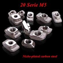 50pcs/lot M5 T Nut 20 - M5 Hammer Head Block Nuts for 2020 Serie Aluminum Profile Extrusion DIY Connectors Slot 6(China (Mainland))