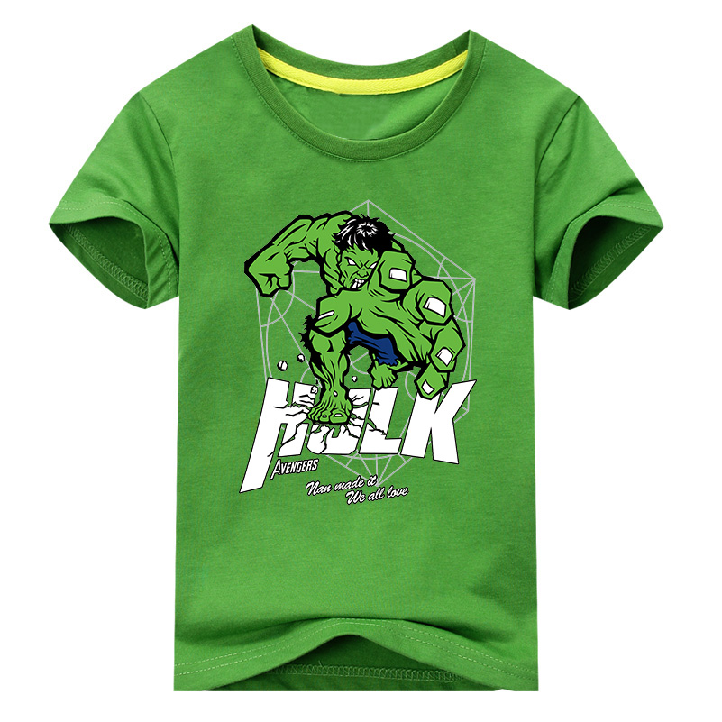 2018 New Children Hulk Print T-shirt Clothes For Boy Girls Summer Short Sleeve Solid Tee Tops Costume Kid T Shirt Clothing DX005 shein black elegant mock neck scallop trim cut out v collar short sleeve solid tee summer women weekend casual t shirt top