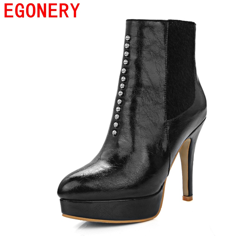 EGONERY shoes 2017 winter woman fashion rivets ankle boots pointed toe super heel party boots women red high quality shoes 33-43 krazing pot new arrival pointed toe thick heel fashion chelsea boots runway winter shoes classic women rivets ankle boots l33