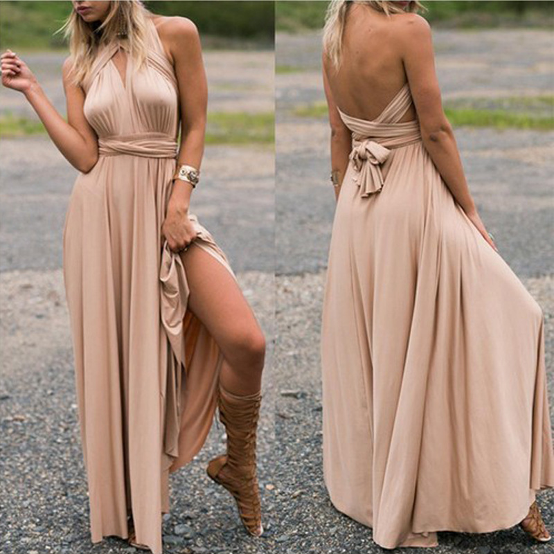 Women 39 s 2019 hot sale explosions solid color deep V neck straps slim backless cross sexy temperament high quality fashion dress in Dresses from Women 39 s Clothing