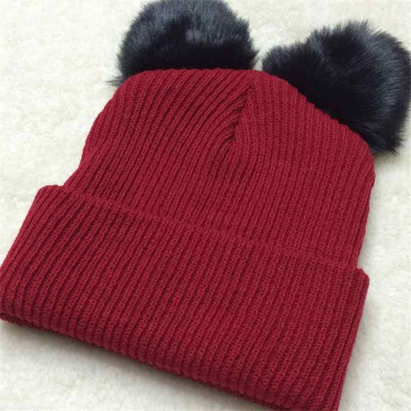 9bd5a3f80 Noverlty Harajuku Bonnet Women Men Winter Double Pom Pom Beanie Devil Horns  Cat Ear Hat Woolen Crochet Knitted Cap Snow Hats