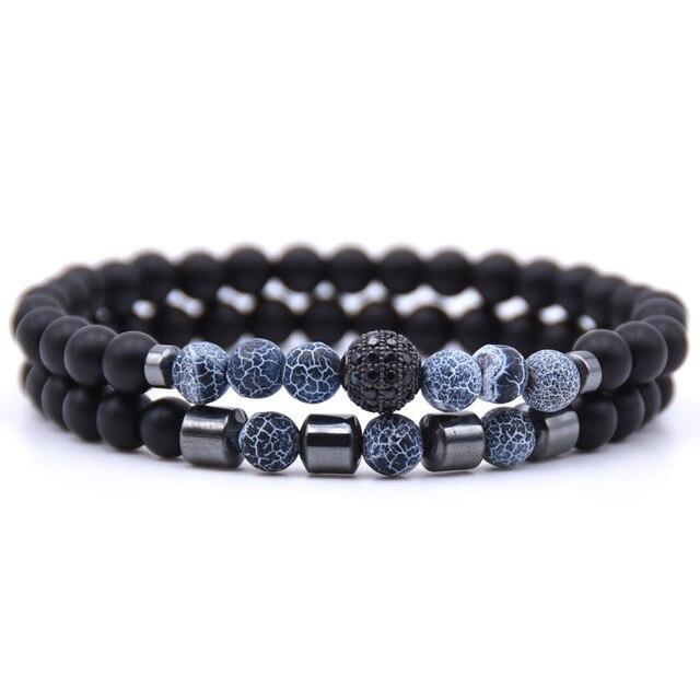 Bracelet amitié distance bleu marbré