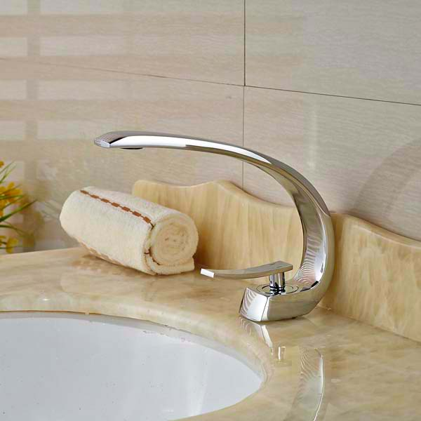 Deck Mounted Luxury Chrome Brass Bathroom Basin Faucet Single Handle Hole Vanity Sink Mixer Tap