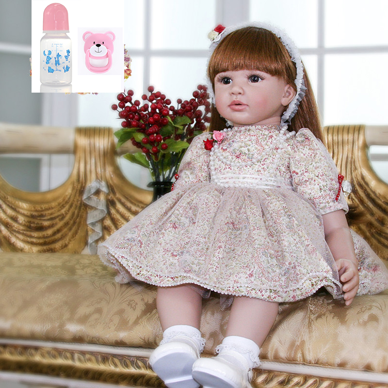 60cm big Reborn silicone Baby Doll 24inch Princess Toddler clothes modeling Accompany Doll Birthday Gift Present Kid Girl Boneca