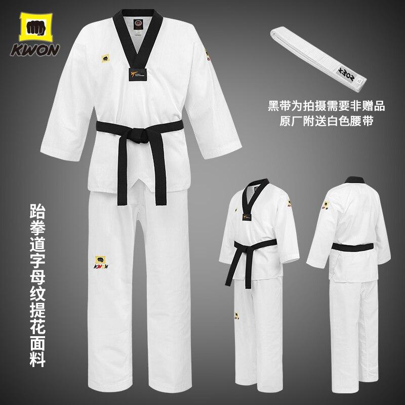 Nouveau Kwon Taekwondo costume basique Wt lettre Jacquard TKD tissu à rayures foncées adulte enfants monde Taekwondo uniformes Kwon basique WT Dobok