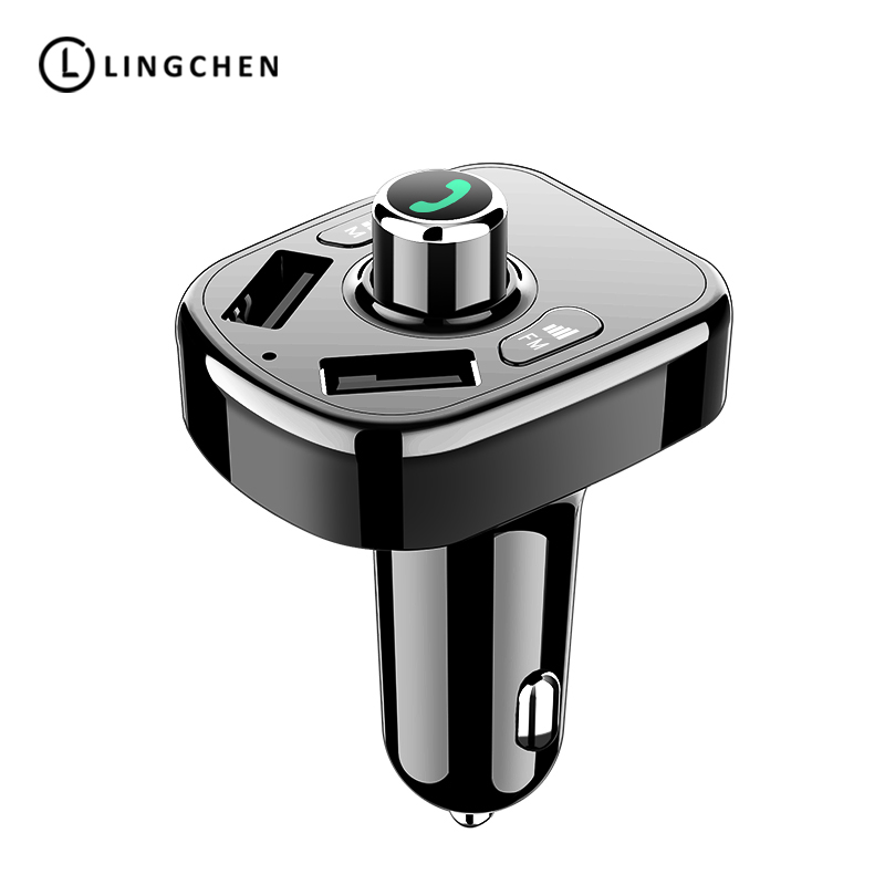 LINGCHEN Dual USB Car Charger Bluetooth Car FM Transmitter Handfree MP3 Audio Player Voltage Detection 2 Port USB Quick Charge
