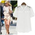 2015 Mulheres Blusas de Renda Puff Blusas de Manga Curta Chiffon Branco Bordado Camisas Corpo Feminino Moda de Nova Tops Vestuário Feminino
