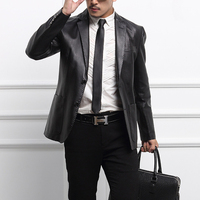 Autumn Loaded Sheep Leather Leather Jacket Brand Fashion Suit Business Leather Jacket Pure Color Slim Suit