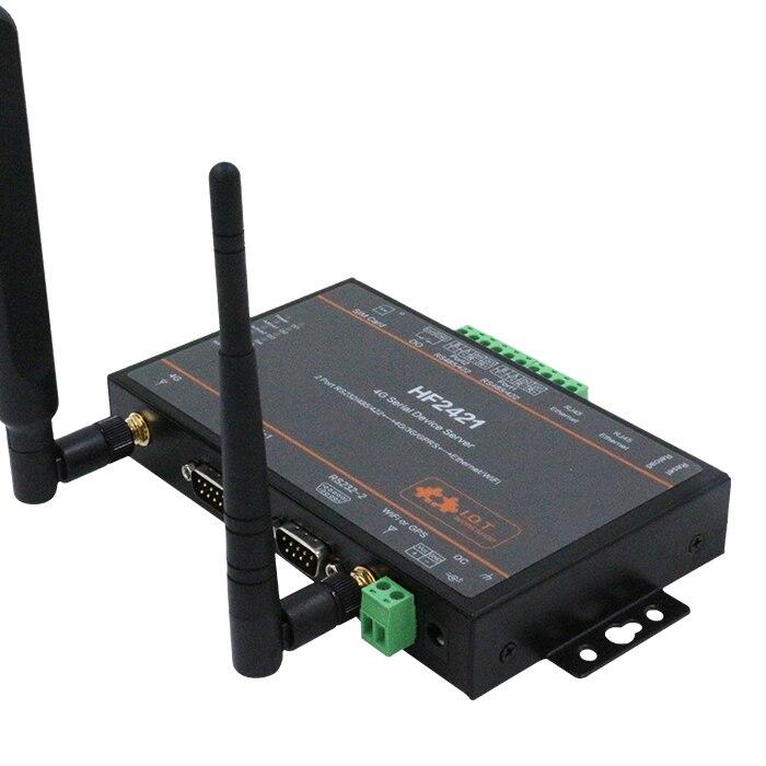 Serveur de périphérique série 4G 2 ports RS232 RS485 RS422 aller en Ethernet Wifi Via serveur série 4G/3G/GPRS
