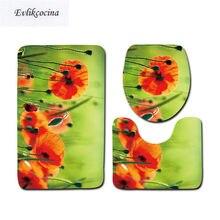 Free Shipping 3pcs Orange Flower Banyo Bathroom Carpet Toilet U Type Bath Mat Set Non Slip