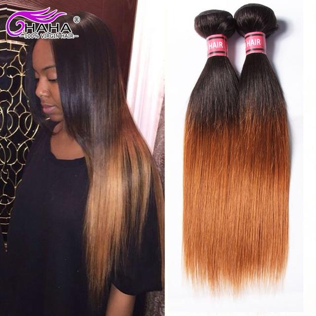 7a Malaysian Virgin Hair Straight Ombre Hair Extension 2tone 1b30