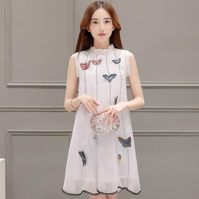 fabe918235 Summer Dress 2016 Korean Fashion Organza Slim Ruffled Sleeveless Patchwork  Print White And Yellow Cute Mini A-line Dresses