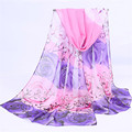 2017 Fashion Women Chiffon Scarf Spring Summer Rose Printing Elegant Lady Shawls Scarves Silk Scarf Women Cape 7 Colors 160*50cm