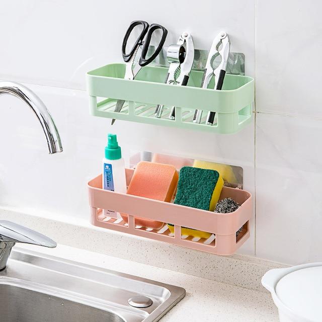 Multifunctional Plastic Bathroom Shelf Adhesive Decorative Wall Shelves Sticky Holder Remote Control Mounted