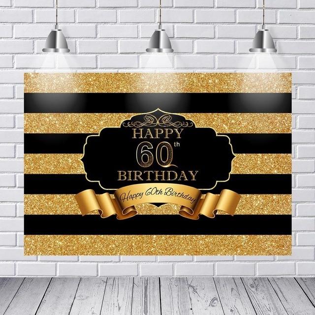 Vinyl Photography Background Adult Luxury 60th Birthday Party Decor Black Gold Stripes Banner Backdrop Photo Studio