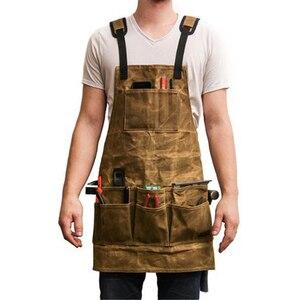 Delantal de lona encerado en oferta, paño de cera al aceite, múltiples bolsillos con herramientas, delantal de Chef para hombres mayores, delantal para barbacoa a prueba de agua con logo de cocina