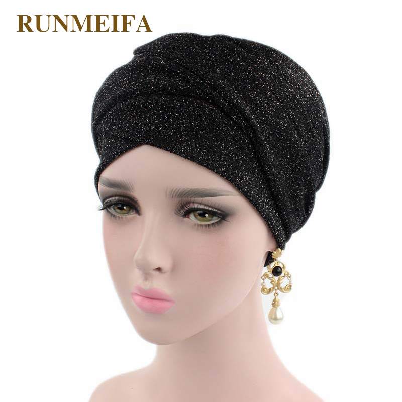 New Design metallic line Muslim   Skullies   &   Beanies   Stretch cloth headgear cap for women luxury brand head scarf African wrap hat