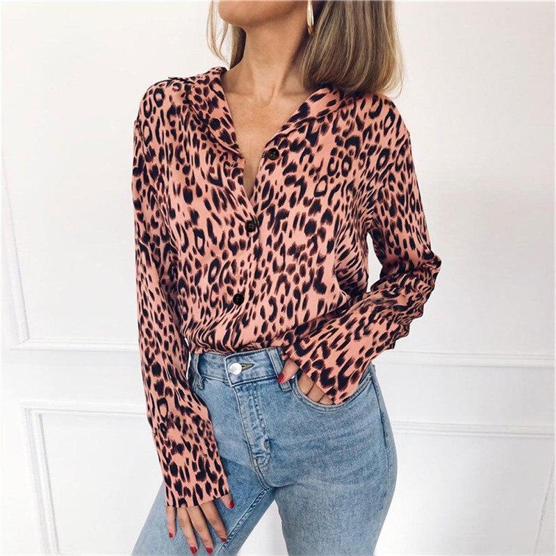 Sexy Pink Animal Leopard Printed Women Blouse Long Sleeve Loose Shirt Tops V Neck Elegant Chemise Femme 3xl Plus Size