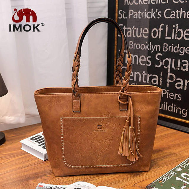 IMOK 2018 Large Capacity Women Messenger Bags Shoulder Tote Bags bolsos New  With Tassel Famous Designers 334708b674505