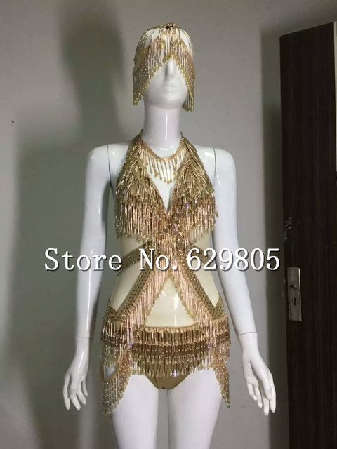 de09afe9fa Sexy Gold Glass Crystals Beads Tassel Shining Rhinestone Bodysuit Costume  Stage Outfit Leotard Female Female Singer Dance Wear-in Chinese Folk Dance  ...