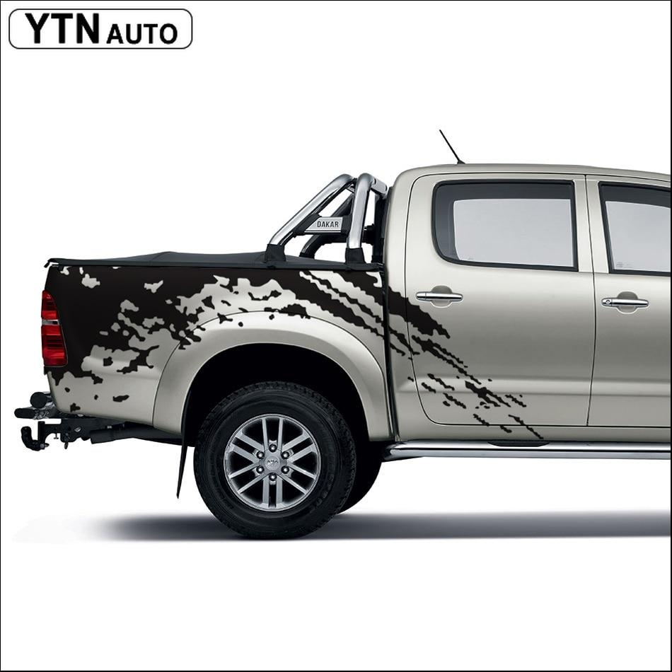 Araba çıkartmaları 2 ADET mudslinger vücut arka kuyruk yan grafik TOYOTA HILUX VIGO için grafik vinil araba aksesuarları sticker özel 2011-2014