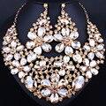Красивый большой цветочный кристалл ожерелье серьги набор для женщин свадебные украшения Африканских Ювелирные наборы