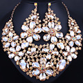 Beautiful large flower crystal necklace earrings set for women wedding jewelry African Jewelry sets