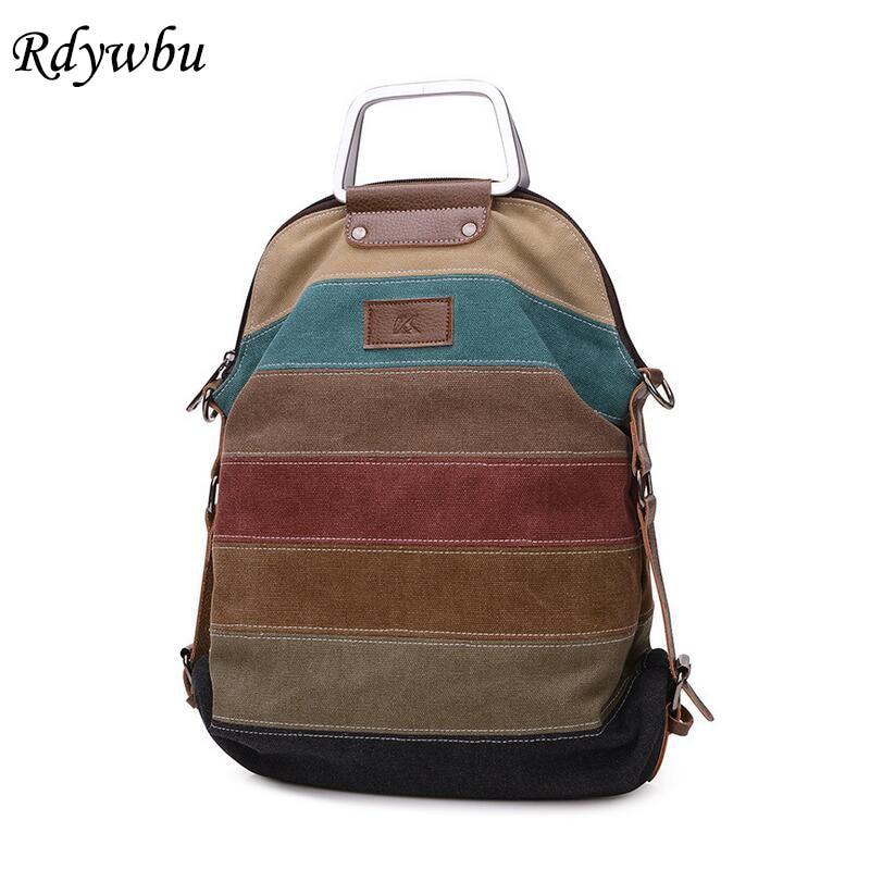 Rdywbu Ethnic Rainbow Women's Canvas Backpack Girl Striped Multifunction Patchwork Rucksack Crossbody School Bolsas Mochila B456